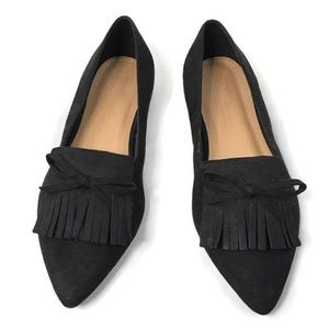 Asos Black Faux Suede Fringed Bow Slip On Loafers